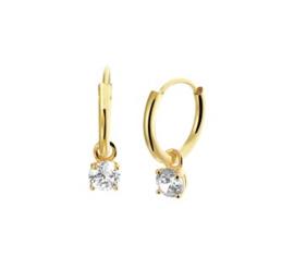 Gouden oorringetjes met diamant