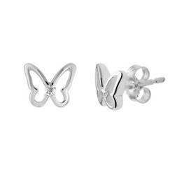 Zilveren oorstekers vlinder zirkonia