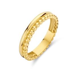 Gouden ring dubbel glad/bolletjes