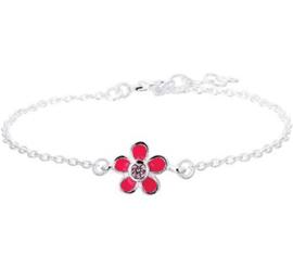Zilveren kinderarmband roze bloem zirkonia