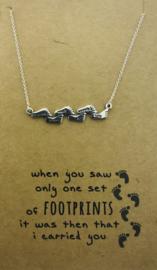 Zilveren geschenk FOOTPRINTS
