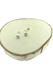 Zilveren oorstekers maansteen