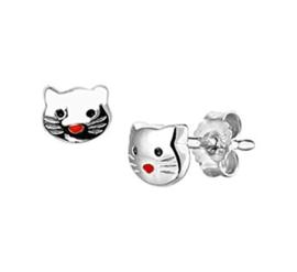 Zilveren oorstekers poes rode neus