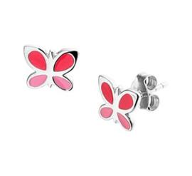 Zilveren set:oorknopjes en ring met vlinder