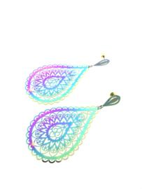 Edelstalen oorhangers druppel multi mandala