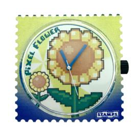 STAMPS-klokje pixel flower