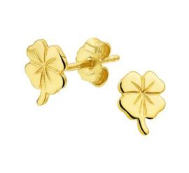 Gouden oorstekers klavertje vier