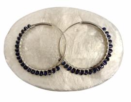 Zilveren creolen lapis lazuli