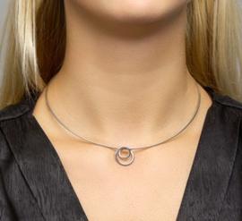 zilveren set collier en oorbellen met rondjes