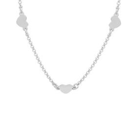 Zilveren kinder collier drie hartjes