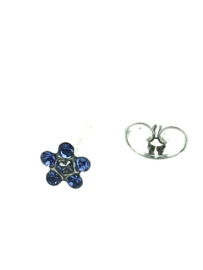 Zweerknopjes witgoud bloemetje blauw