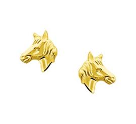 Gouden oorstekers paardenhoofd