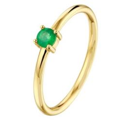 Gouden ring groene smaragd