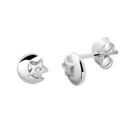 Zilveren oorstekers maan/ster zirkonia