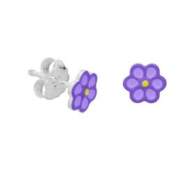 Zilveren oorstekers paarse bloem