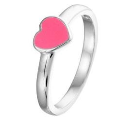 Zilveren kinderring roze hart