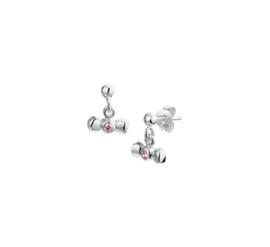 Zilveren oorhangers strik roze