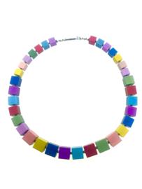 Handgemaakte matte multicolor collier