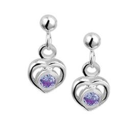 Zilveren oorhangers hart strass paars
