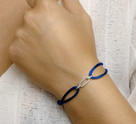 Armband satijn donker blauw