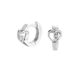 Zilveren klapcreolen hart zirkonia