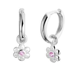Zilveren klapcreolen bloem zirkonia roze