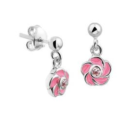 Zilveren oorhangers roze bloem zirkonia