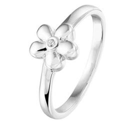 Zilveren kinderring bloem zirkonia