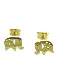 Edelstalen oorbellen met een olifant goudkleur