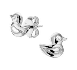 Zilveren oorstekers eend zirkonia