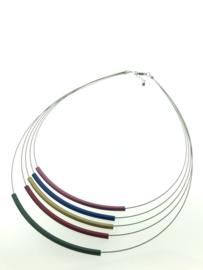 Handgemaakt collier 5 strengen multicolor