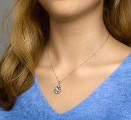 zilveren set collier en oorbellen druppel