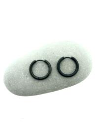 Edelstalen klapcreolen zwart 19 mm