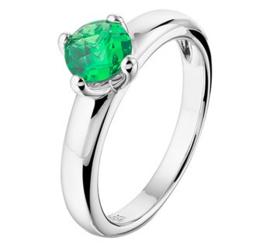 Zilveren ring synth. groen smaragd