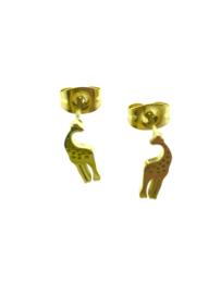 Edelstalen oorstekers giraffe goudkleur