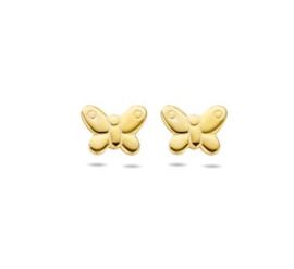 Goud op zilveren oorstekers vlinder