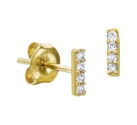 Gouden oorknopjes streep met steentjes