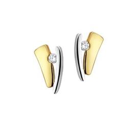 Gouden bicolor oorstekers met steen