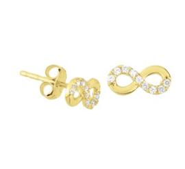 Gouden oorknopjes infinity teken