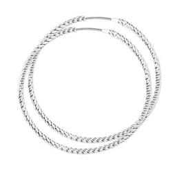 Zilveren oorringen gedraaid 40 mm