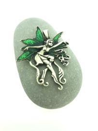 Zilveren kettinghanger elf groen
