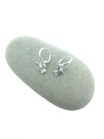 Zilveren oorringetjes vlinder blauw