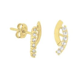 Gouden oorknopjes met zirkonia steentjes