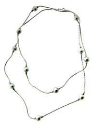 Zilveren collier met bollen lang