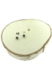 Zilveren oorstekers onyx versierd