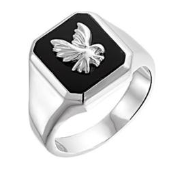 Zilveren zegelring adelaar onyx