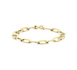 Goud op zilveren schakelarmband anker
