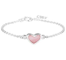 Zilveren kinderarmband roze hart