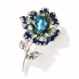 Broche bloem blauw