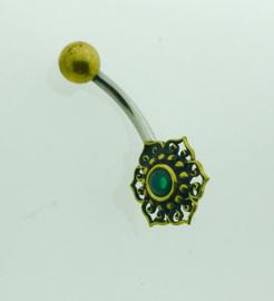 Goudkleurige navelpiercing bloem groen